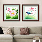 Big Peony and Butterflies Pink Lotus Flower and Bird Stamped Cross Stitch Kit
