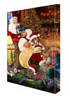 Santa Sleeping with Pitbull Dogs Christmas Canvas Wall Hanging NWT