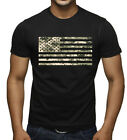 Men's Digital Camo US Flag Black T Shirt American Military USA Army America Tee