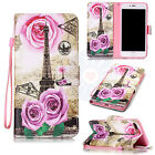 Rose Stamp Eiffel Tower Flip PU Leather Mix Card Wallet Case Cover For Phones #H