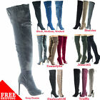 Barbara13 Over Knee Thigh High Heel Peep Toe Distress Worn Out Jean Boot & More