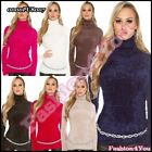 Womens Fluffy Jumper Furry Pullover Ladies Mohair Turtleneck One Size 8,10,12,14