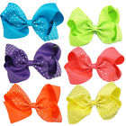 6 Inch Large Rhinestone Hairbow Baby Girls  Grosgrain Ribbon Clips Hair Bows