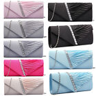 Women Satin Diamante Ruffle Party Envelope Evening Clutch Prom Bridal Bag Purse