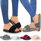 Womens Ladies Flat Farrah Rubber Sliders Mules Faux Fur Slippers Sandals Size UK