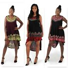 Batik Palm Tree High-Low Dress African Gypsy Caftan Casual Dashiki Kaftan Skirt