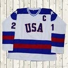Mike Eruzione Hockey Jersey #21 USA Miracle On Ice Game Stitched Retro White