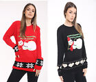 Womens Glitter Sequin Santa Snowmen Jumper Ladies Xmas Sweater Top