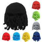 Unisex Octopus Winter Warm Knitted Wool Ski Face Mask Knit Hat Squid Cap Beanie