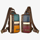 Men Multicolor Faux Leather Chest Pack Sling Bag Crossbody Backpack Daypack Gift