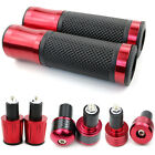 """7/8"""" Motorcycle Handlebar Hand Grips Bar Ends For Yamaha YZF R125 R3 R6S FJR Red"""