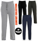 Mens Open Hem Jogging Fleece Bottoms Joggers Trousers Zip Casual Pants Pockets