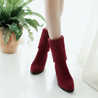 Womens Pull On Pointed Toe Chunky Med Heels Ankle Boots