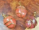 Carnelian Agate Necklace - Tumbled Gemstone Pendant - Gold Wire Wrapped (BB13)