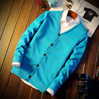 2016  V-Neck Knitted  Men's Casual Sweater Man Solid Color Cardigan Coat