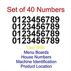 "Set of 40 - 0-9 Menu Board Numbers Sticker Decal - Select Color Size 1/2"" to  4"""