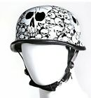 Motorcycle German Riding Biker White skull graveyard Helmet with quick release