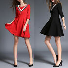 ANL Womens Girls Round Neck Medium Sleeve Casual Party Umbrella Skirt Slim Dress