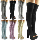 WOMENS LADIES OVER KNEE THIGH HIGH VELVET PLATFORM BLOCK HEEL PEEPTOE BOOTS SIZE