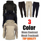 Mens Hooded Tracksuit Set Fleece Mesh Panel Hoodie Top Bottoms Sports Joggers