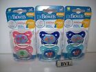 DR BROWNS 6-12M PACIFIERS 2 PACK PINK/BLUE **LOT OF 3**