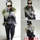 Women's PU Leather Big Fur Collar Motorcycle Coat Jacket Outwear Parka New S-2XL