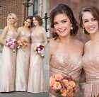 Rose Gold Long Wedding Party Bridesmaid Gowns Formal Maid Honor Dresses HD045