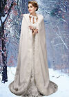Wedding Jacket Bridal Warm Bridal Cloaks Coat Cape ivory White Winter Fur Coat