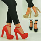 New Womens Ladies Block High Heel Pumps Ankle Strap Sandals Shoes Size Uk 3-8