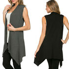 Womens Loose Casual Cotton Blend Knitted Sleeveless Irregular Waistcoat Cardigan