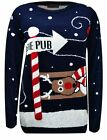 MENS UNISEX CHRISTMAS XMAS JUMPERS SNOW REINDEER TO THE PUB NOVELTY JUMPER