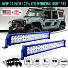 Blue 2X120W 24in 2ft LED Light Work Bar Lamp ATV Driving Offroad Boat SUV+Wiring