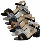 Ladies Womens Flat Low Block Heel Sandals Ankle Strap Open Toe Shoes Buckle Size