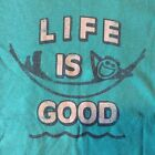 Life is good NWT s/s womens tshirt beach hammock beachy teal med-xxl