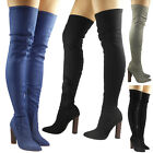 WOMENS LADIES DENIM THIGH HIGH BOOTS OVER THE KNEE BROWN BLOCK HEELED SHOES SIZE