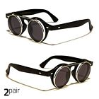 2 Pair Cool Flip Up Lens Steampunk Vintage Retro Round Sunglasses Gold Silver I