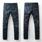 New Men Embellished Ripped Biker Oiled Painted Stretch Slim Jean W28-42 (#963)