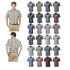 FashionOutfit Men's Western Casual Button Down Plaid Check Short Sleeve Shirt