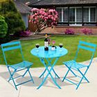 LH 3 pcs Set Table Chair Foldable Outdoor Patio Garden Pool Metal Home Furniture