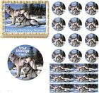 Grey Wolf Family Wolves Edible Cake Topper Image Cupcakes Cookies Wolf Cake NEW