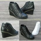Black High-Top Wedges Heels Lace-up Fashion Sneakers Women Shoes US SZ 4.5~8