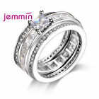 New Brand Crystal Three Rows Engagement Wide Jewellry Rings Set Zircon