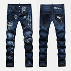 New Mens Italy Style *Graffiti Painting *Slim *Blue JEANS Pants Trousers D1435T