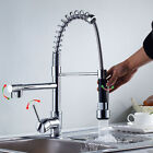 Deck Mount Spring Kitchen Sink Faucet Dual Spout Swivel Sink Pull Down Mixer Tap