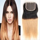 "3 Part  Way 4""x4"" Brazilan Straight 1b/27# Ombre Remy Human Hair Lace Closure"