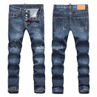 New Mens Italy Style *Scratchs *Slim fit Pants Washed Blue JEANS Trousers D1832T