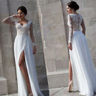 Lace Long Sleeve Split Wedding Dresses Chiffon Beach Casual Bridal Gowns HD102