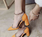 Womens Studs Block High Heels Pointed Toe Rivet Ankle Strap Weeding Shoes