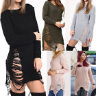 Ladies Womens Ripped Distressed Torn Long Jumper Dress Knitted Sweater Top