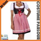 Womens Authentic German Dirndl Oktoberfest Fancy Dress Ladies Costume All Sizes